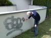 Odstránenie graffiti zplochy ošetrenej antigraffiti Bánovce1